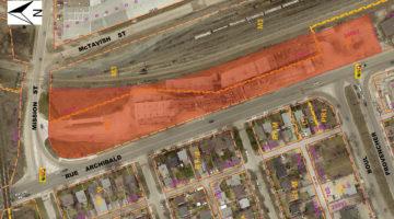 Aerial of 172 Archibald Street land in Winnipeg, MB.