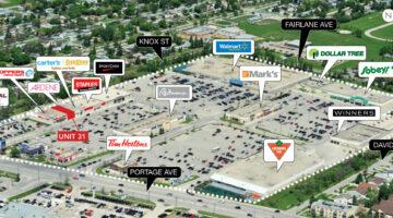 Aerial of SmartCentres Winnipeg West, 3365 Portage in Winnipeg, MB.