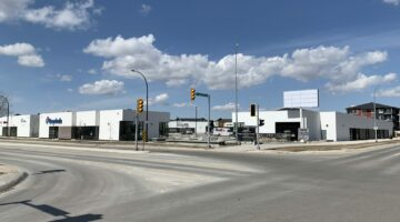 Street view front exterior of Waterford Commons, 55 Waterford Green Commons in Winnipeg, MB.