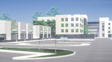 Exterior rendering of The District at Bridgwater, 355 Centre Street in Winnipeg, MB.