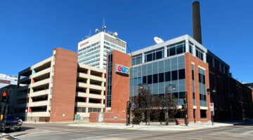 Front exterior of Powerhouse Building, 345 Graham Avenue in Winnipeg, MB.